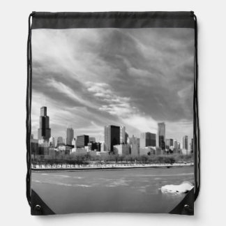 Panoramic view of Chicago skyline in winter Drawstring Bag