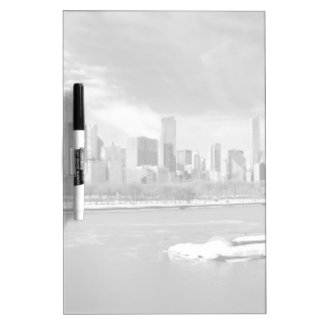 Panoramic view of Chicago skyline in winter Dry Erase Board