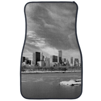 Panoramic view of Chicago skyline in winter Floor Mat