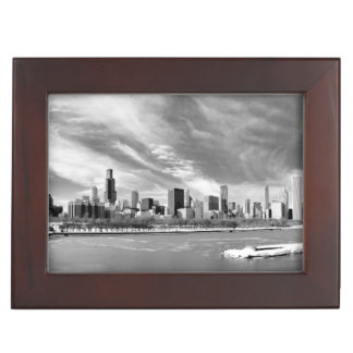 Panoramic view of Chicago skyline in winter Keepsake Box