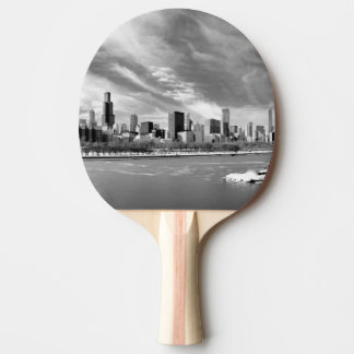 Panoramic view of Chicago skyline in winter Ping Pong Paddle