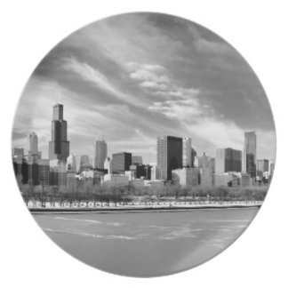 Panoramic view of Chicago skyline in winter Plate