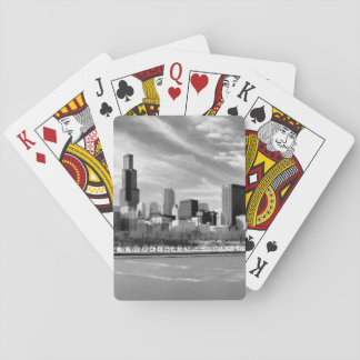 Panoramic view of Chicago skyline in winter Playing Cards