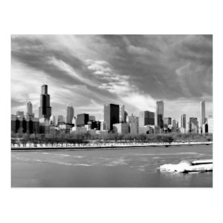 Panoramic view of Chicago skyline in winter Postcard