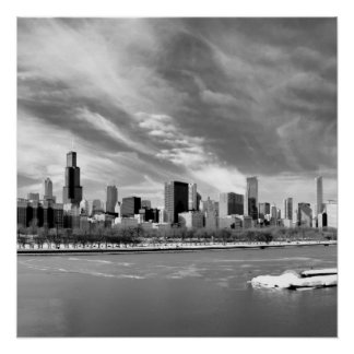 Panoramic view of Chicago skyline in winter Poster