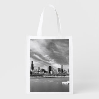 Panoramic view of Chicago skyline in winter Reusable Grocery Bag