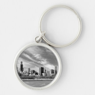 Panoramic view of Chicago skyline in winter Silver-Colored Round Key Ring