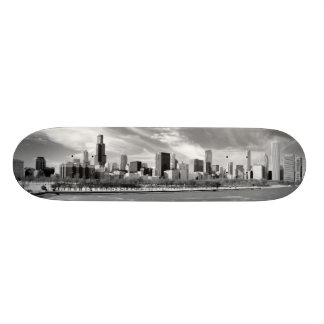 Panoramic view of Chicago skyline in winter Skateboard Deck