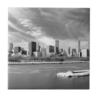 Panoramic view of Chicago skyline in winter Tile
