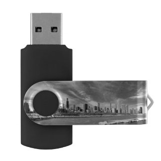 Panoramic view of Chicago skyline in winter USB Flash Drive