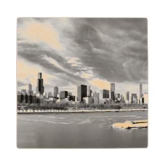 Panoramic view of Chicago skyline in winter Wood Coaster