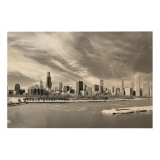 Panoramic view of Chicago skyline in winter Wood Print
