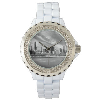 Panoramic view of Chicago skyline in winter Wristwatches
