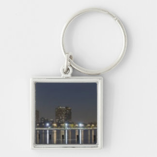 Panoramic view of Chicago's North Avenue Beach 2 Silver-Colored Square Key Ring