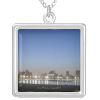 Panoramic view of Chicago's North Avenue Beach Square Pendant Necklace