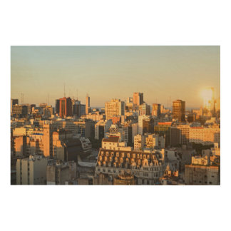 Panoramic View Of Cityscape At Dusk Wood Print