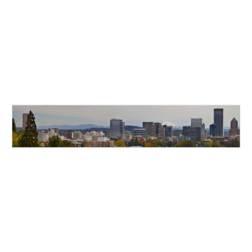 Panoramic View of Downtown Portland Oregon in Fall Poster
