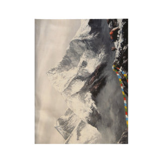 Panoramic View Of Everest Mountain Wood Poster