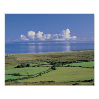 panoramic view of farm fields near the lake poster