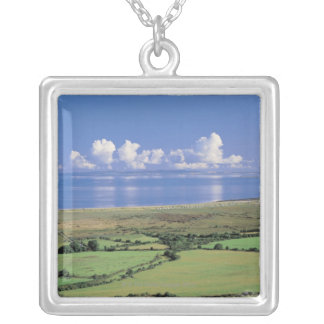 panoramic view of farm fields near the lake silver plated necklace