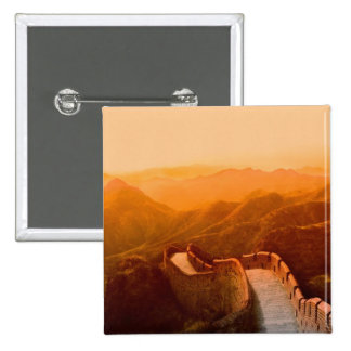 Panoramic view of Great Wall, China 15 Cm Square Badge
