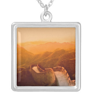 Panoramic view of Great Wall, China Silver Plated Necklace