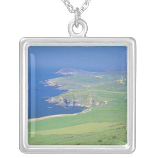 panoramic view of landscape and the sea silver plated necklace