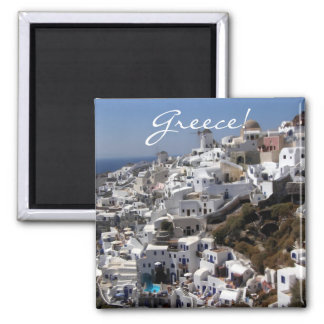 Panoramic view of Oia, Greece Square Magnet