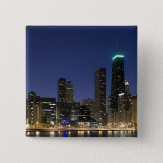 Panoramic view of the Chicago lakefront at dusk, 15 Cm Square Badge