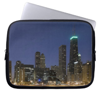 Panoramic view of the Chicago lakefront at dusk, Laptop Sleeve