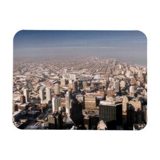 Panoramic view of the city rectangular photo magnet