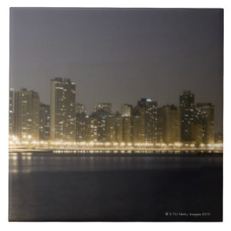 Panoramic view of the north side of Chicago at Large Square Tile
