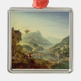 Panoramic view on the Rhine (pair with 59649) Christmas Ornament