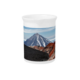 Panoramic volcano landscape: crater active volcano beverage pitchers