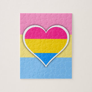 Pansexual flag heart jigsaw puzzle