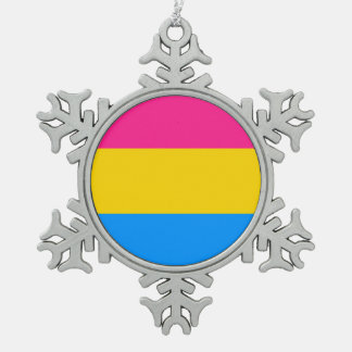 Pansexual flag snowflake pewter christmas ornament