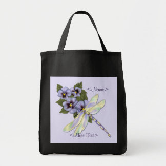 Pansies and Dragonfly Grocery Tote Bag