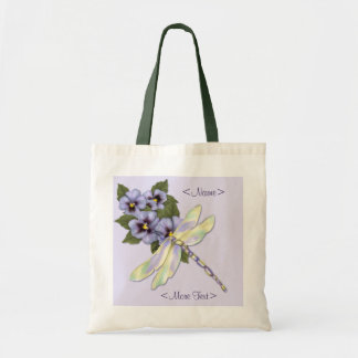 Pansies and Dragonfly Tote Bag