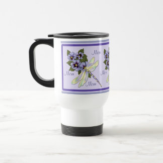Pansies and Dragonfly Travel Mug