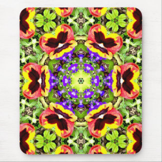 ~ Pansies and Lobelia Fractal ~ Mouse Mat
