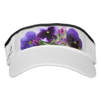 Pansies and lobelia on old handwriting visor