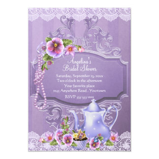 Pansies and Pearls Bridal Shower Tea 13 Cm X 18 Cm Invitation Card
