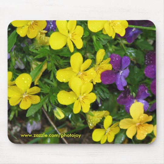 Pansies and the Rain Mouse Mat