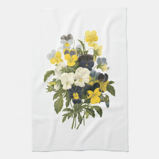 Pansies and Violets Viintage Art Tea Towel