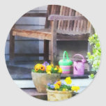 Pansies and Watering Cans on Steps Stickers