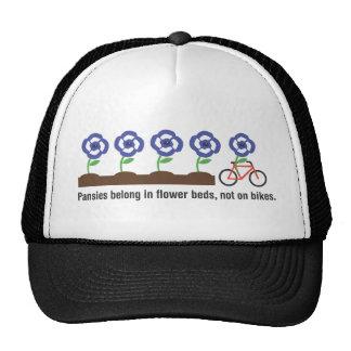 Pansies belong in flower beds not on bikes mesh hats