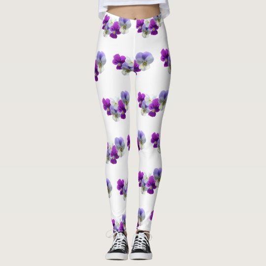 Pansies Five Flowers Pattern Legging