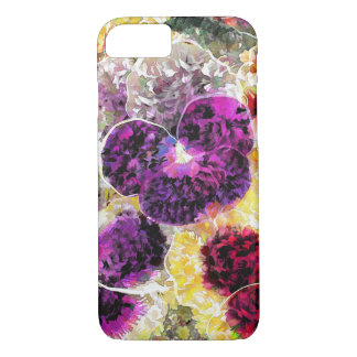 Pansies Flowers Abstract Art, iPhone 7 Case