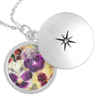 Pansies Flowers Abstract Art Round Locket