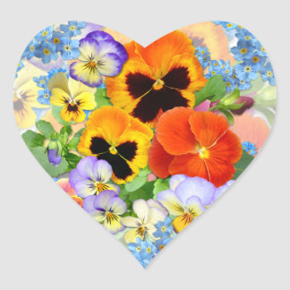 Pansies & Forget-me-not Heart Sticker